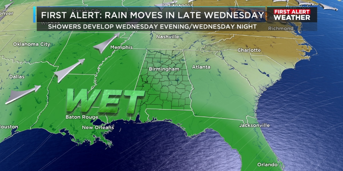 Rain chances increase Wednesday evening