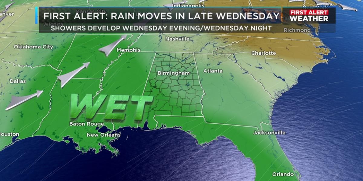 Matt says rain chances increase Wednesday evening