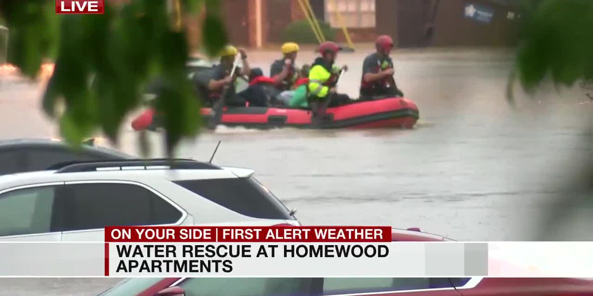 Homewood apartment complex floods again, rescues made by boat