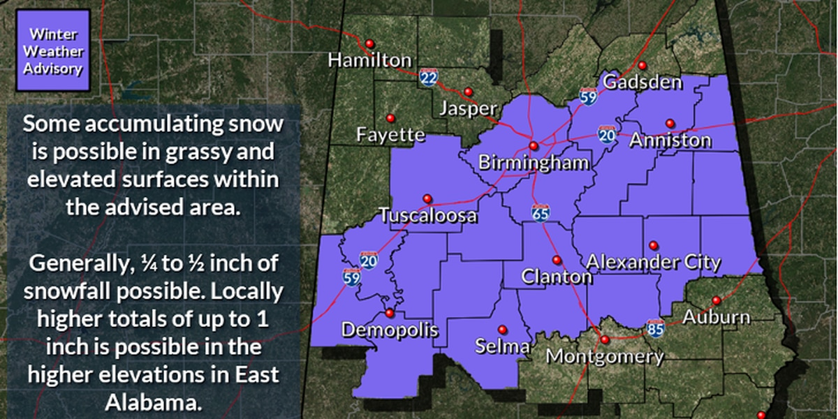 Winter Weather Advisory issued for several Central AL counties