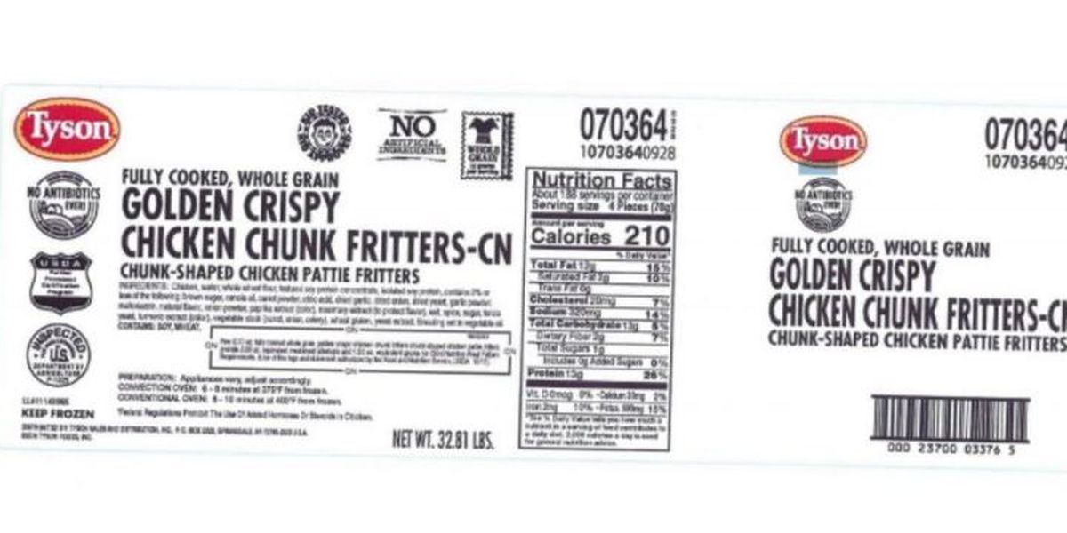 Tyson recalls 200,000 pounds of frozen chicken fritters