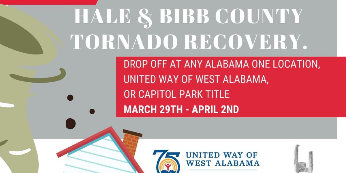 Tuscaloosa tornado drive held for Hale and Bibb counties