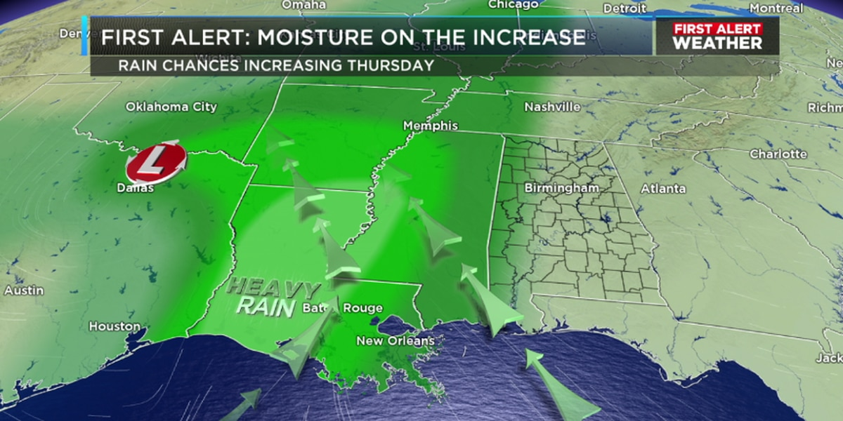 Rain chances increase Thursday evening