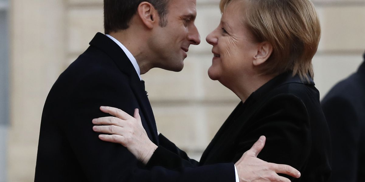 Macron, Merkel seek common approaches to Trump, euro