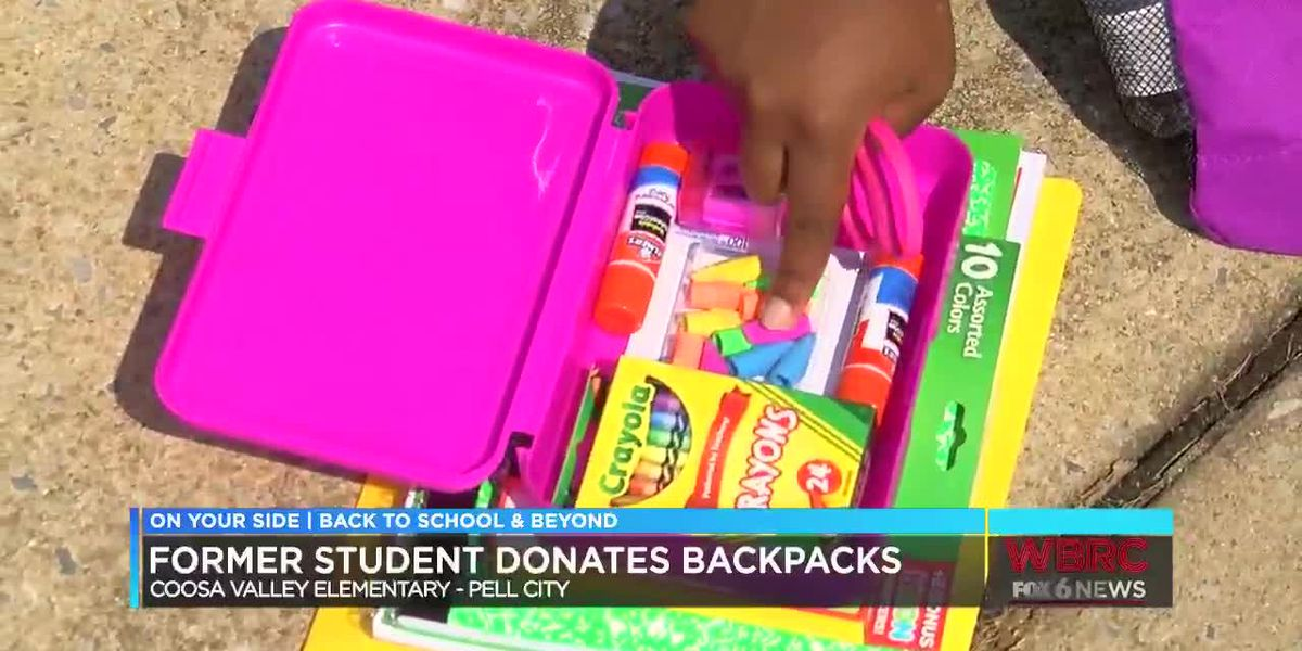 Former student donates school supply backpacks in Pell City