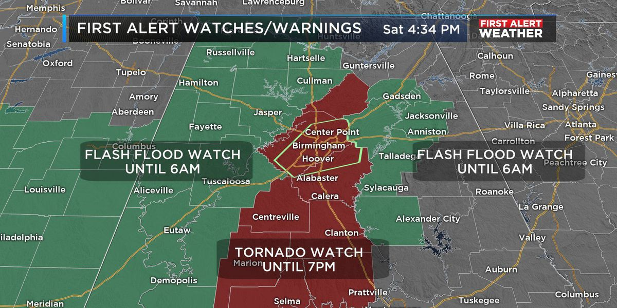 FIRST ALERT: Flash Flood Watch extended to 6 a.m. Sunday