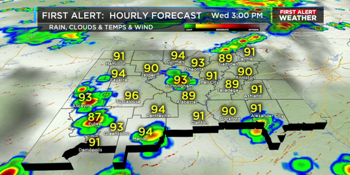 Jill: Tracking hot temperatures, scattered storms