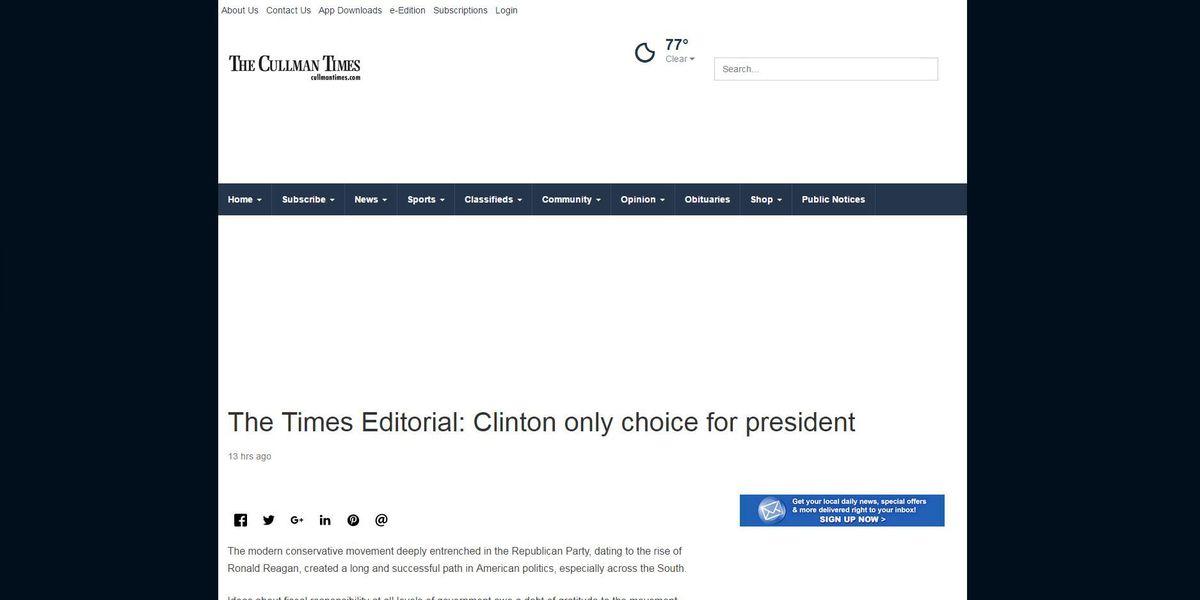Cullman Times endorses Clinton for president