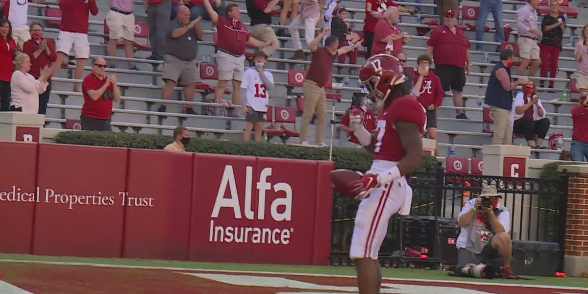 Alabama WR Jaylen Waddle back at practice, teammates: 'He's looking good'