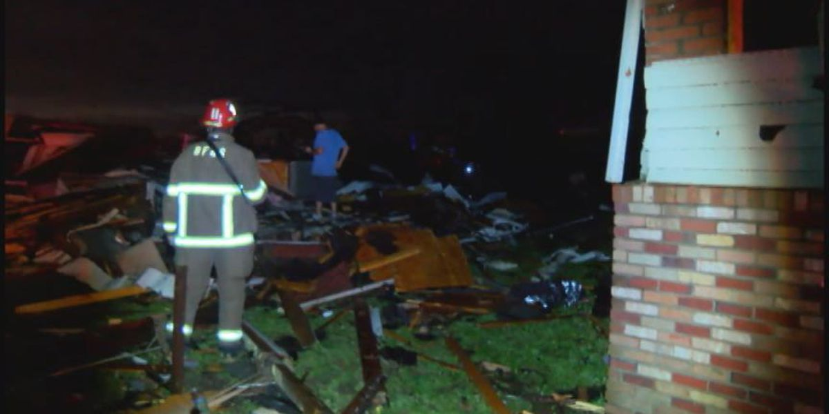 Potential tornado damage in southwest Birmingham early Christmas evening