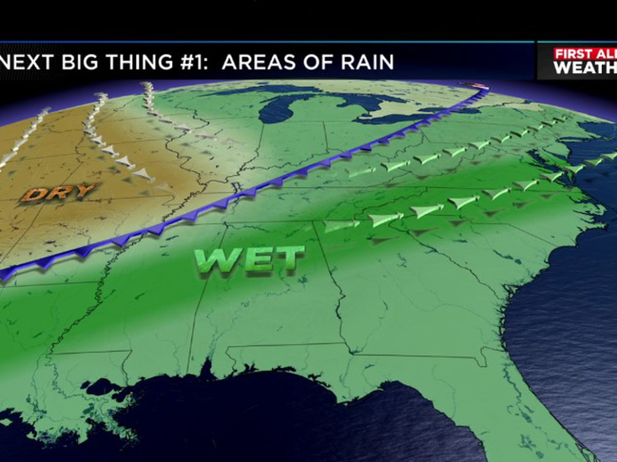 Rain, cold front arriving Saturday