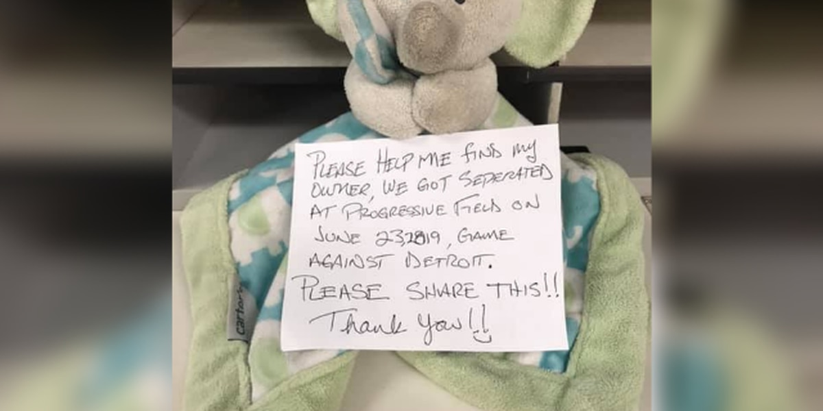 Fan finds lost stuffed elephant at Cleveland Indians game and wants to return it to its owner