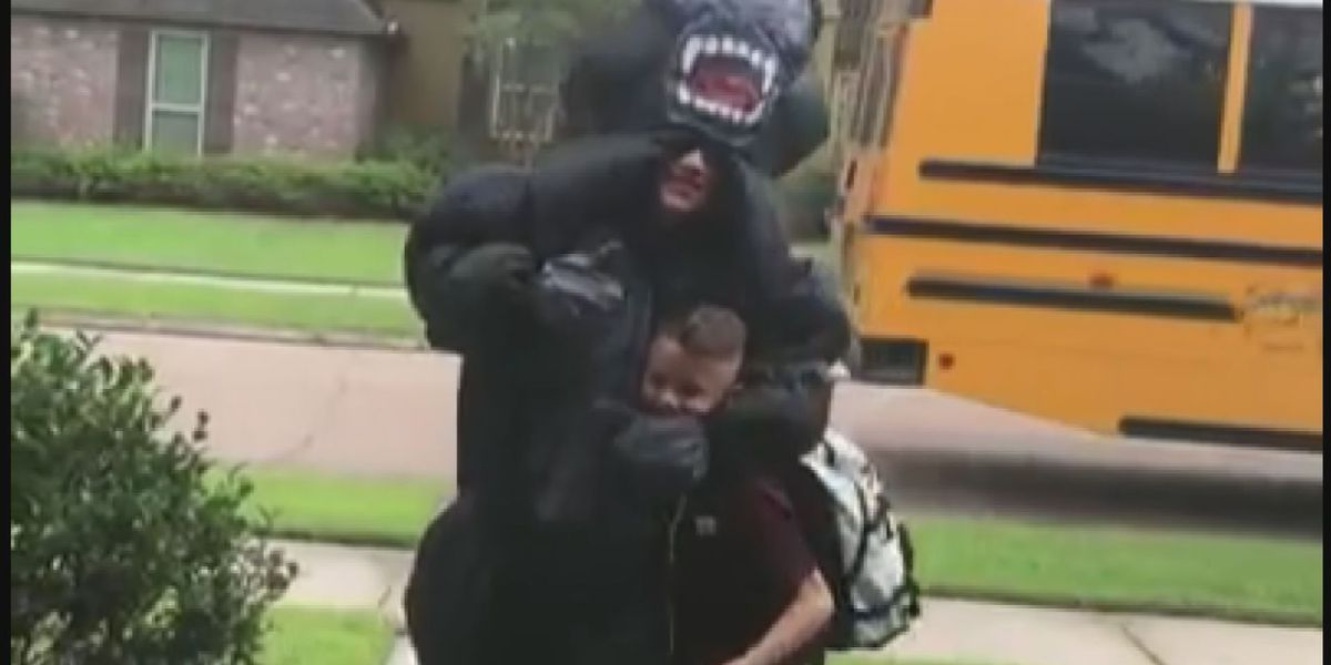 Louisiana teen surprises younger brother in silly costumes every day at bus stop