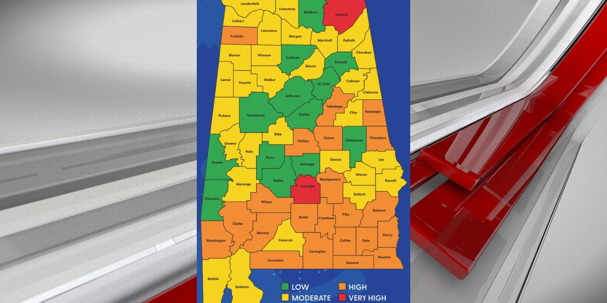 Jefferson County falls in the 'Low Risk' category, according to ADPH