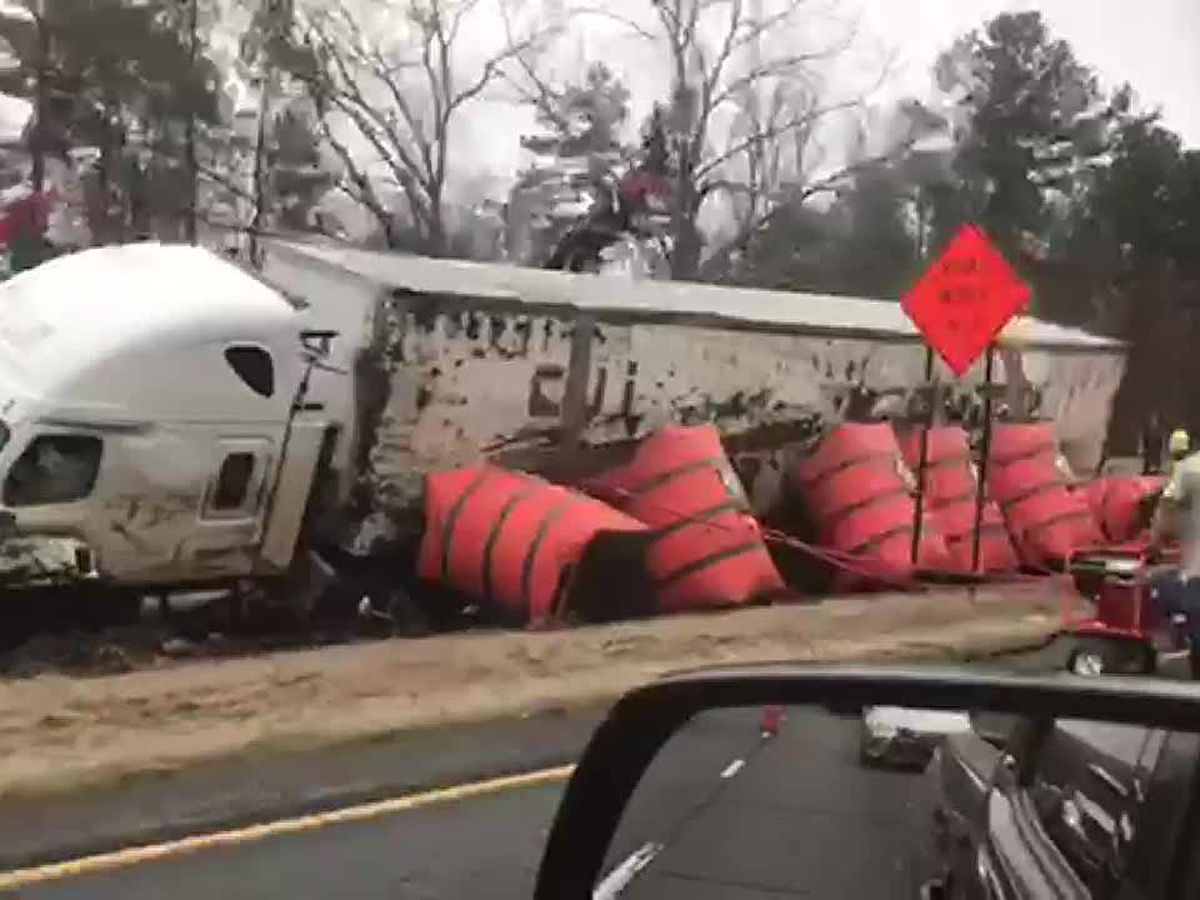 WATCH: Truck overturned in accident on I-59