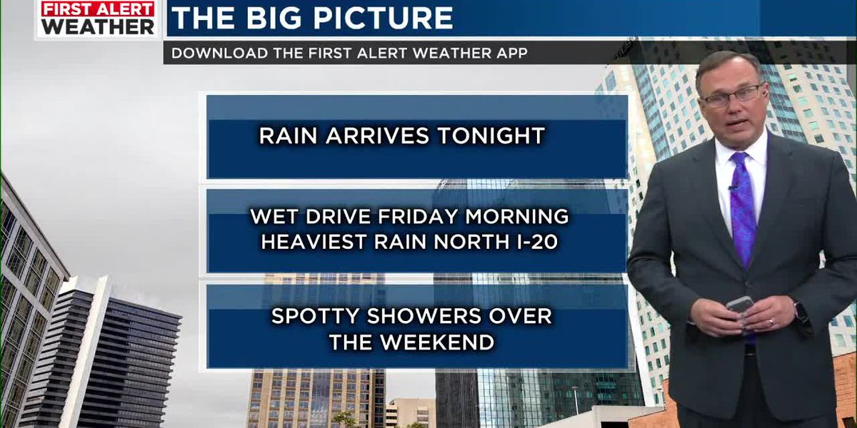 FIRST ALERT: Rain arrives overnight and continues through Friday morning