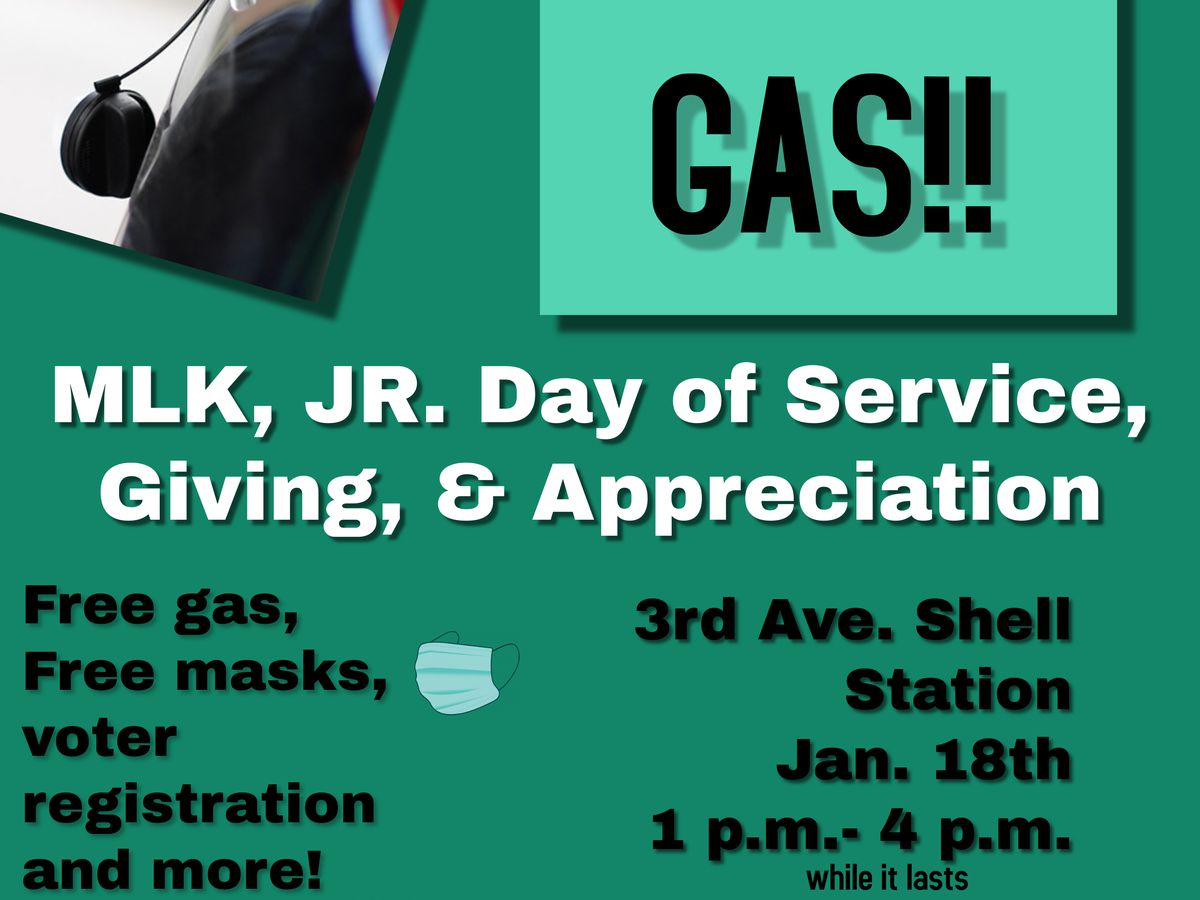 B'ham group holds MLK Day of service gas giveaway and voter registration event