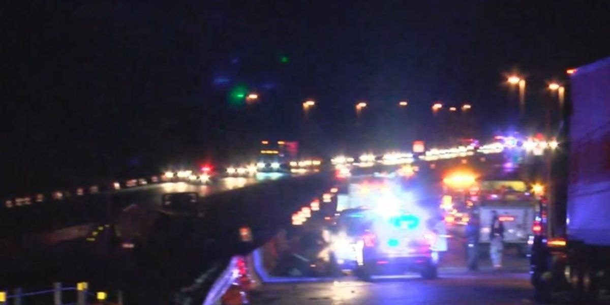 All lanes blocked on I-65 SB in Chilton Co. due to overturned tanker, hazmat situation