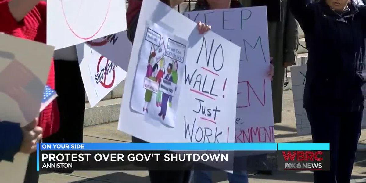 Protest over government shutdown in Anniston