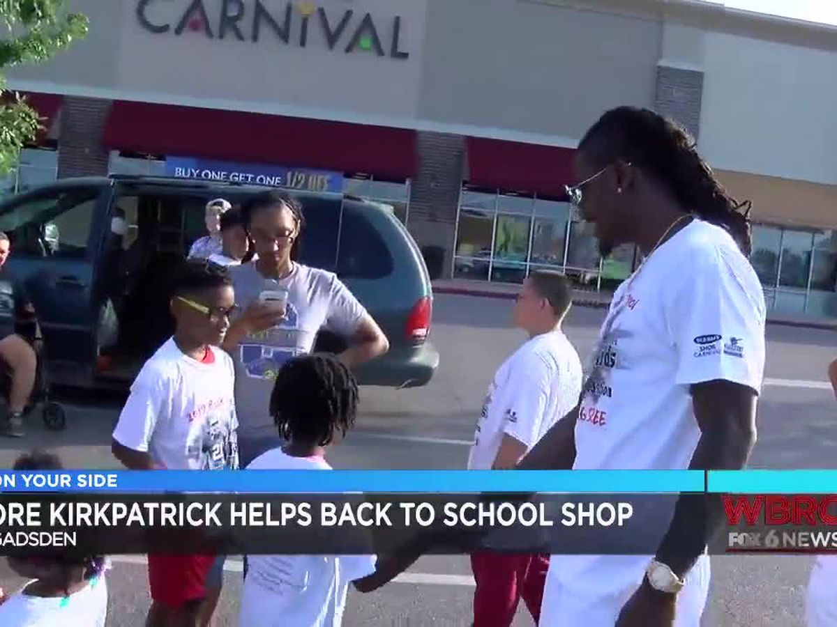 Dre Kirkpatrick helps Gadsden children with back to school shopping