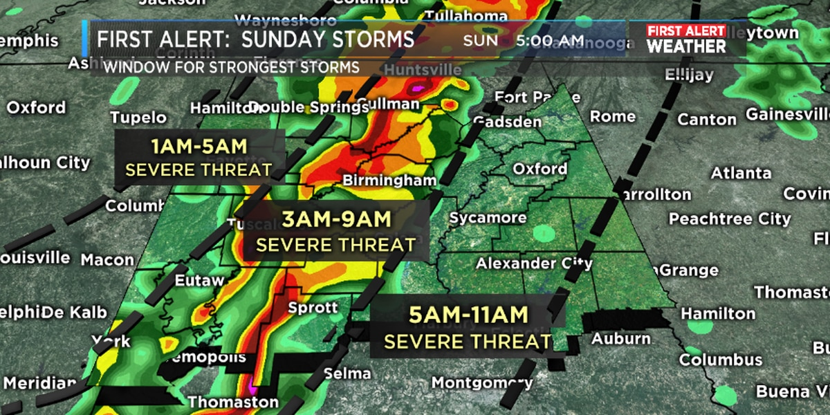 FIRST ALERT: Threat of tornadoes, damaging winds Sunday morning