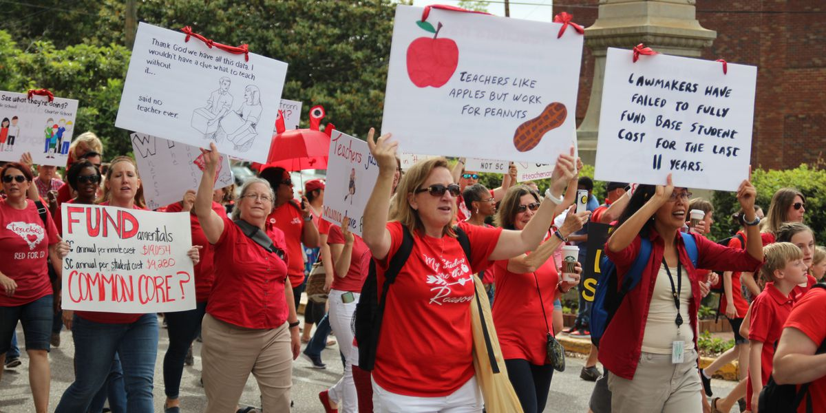 'Where's Molly? Where's Molly?': 10,000 people estimated at #AllOutMay1 teacher's rally at the South Carolina State House