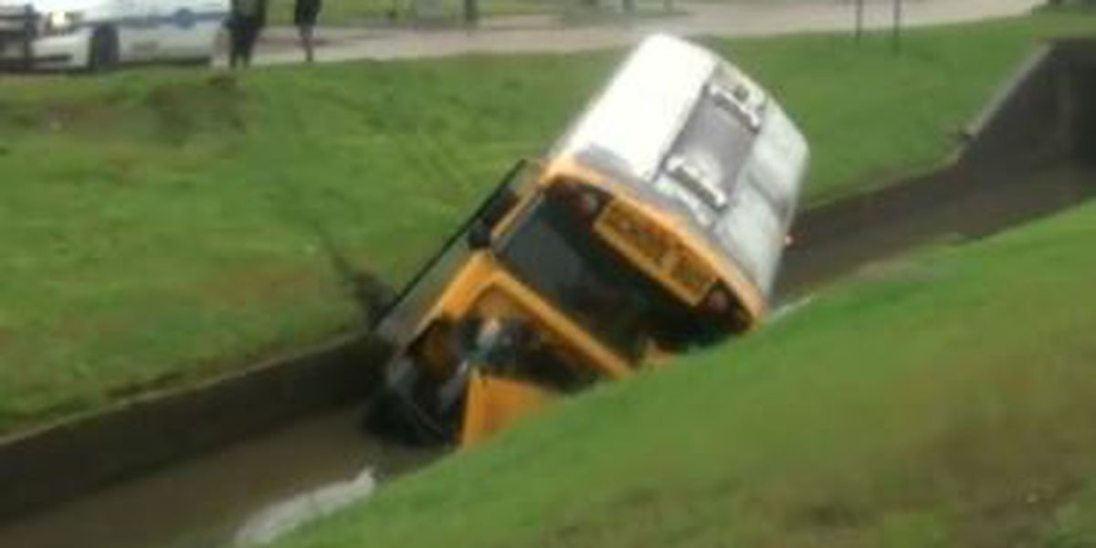 School bus crashes into canal in New Orleans East