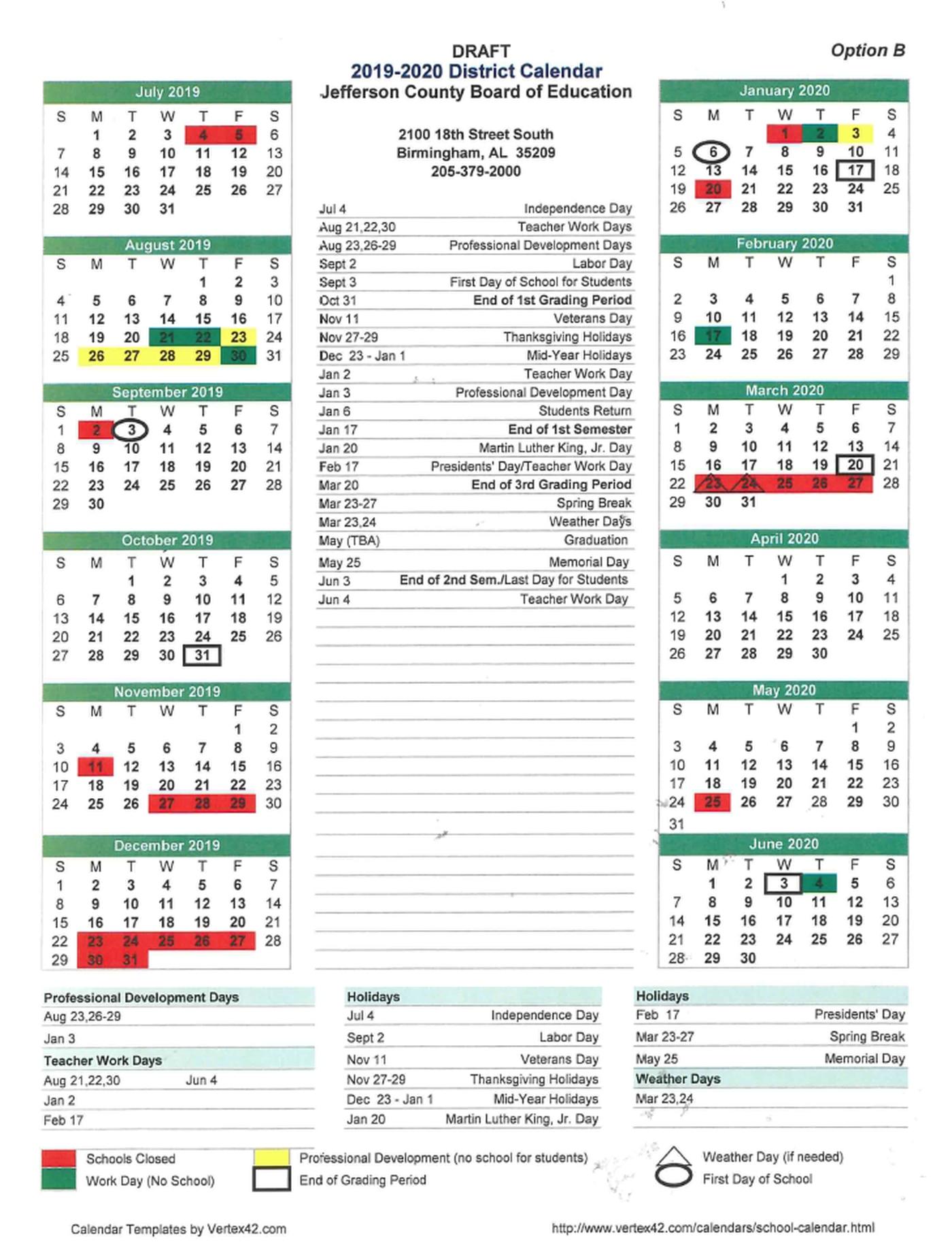 Jefferson County School Calendar 2020 Jefferson County School students could start school in September