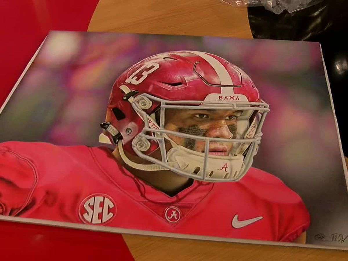 AL artist shows off new Tua Tagovailoa drawing