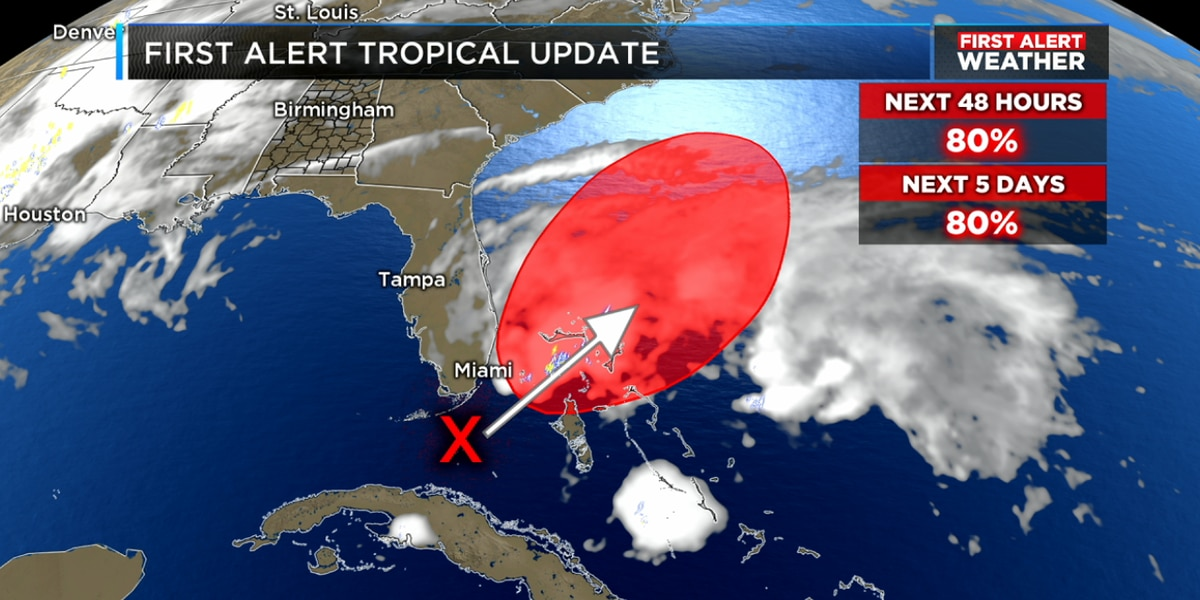 FIRST ALERT: Scattered showers and storms likely on Sunday, also tracking a tropical depression in the Atlantic