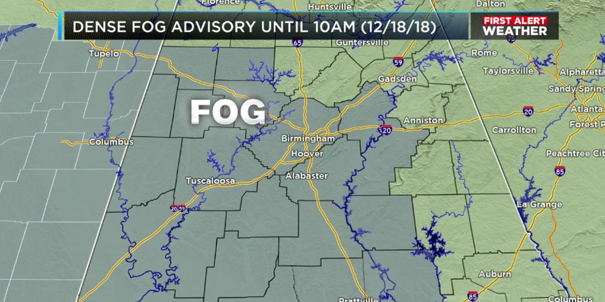 Patchy, dense fog a problem again Tuesday morning