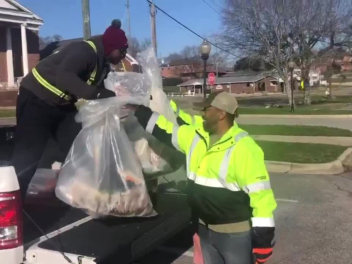 Volunteers from Alabama Power help clean up for MLK day of service