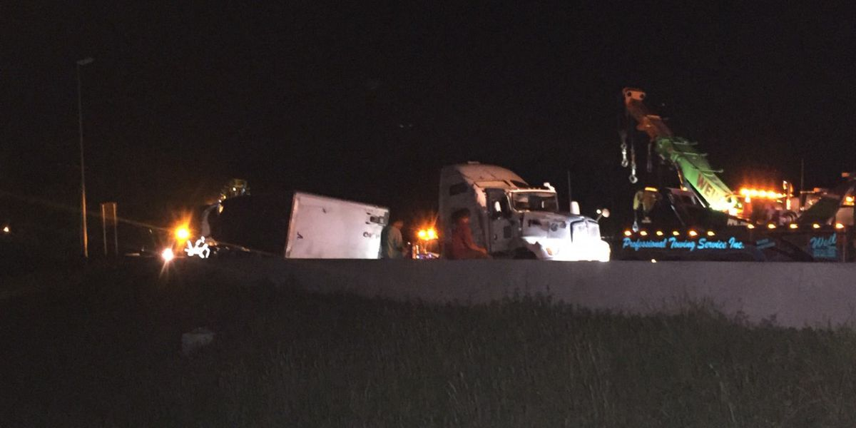 Overturned 18-wheeler blocking ramp from I-20 to I-59 cleared