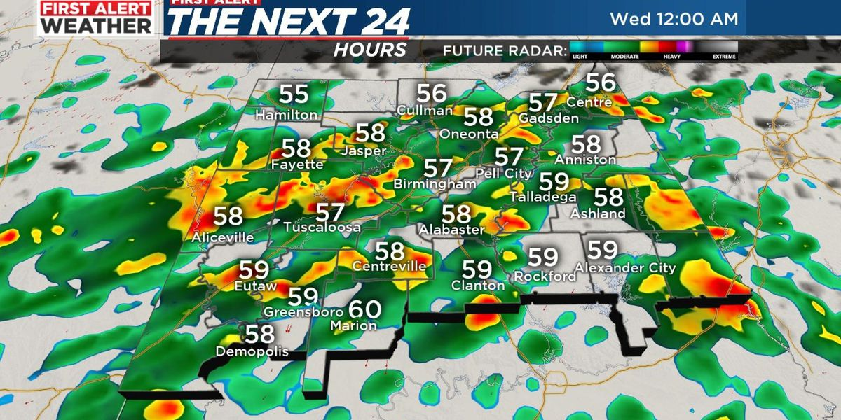 First Alert for rain moving in today