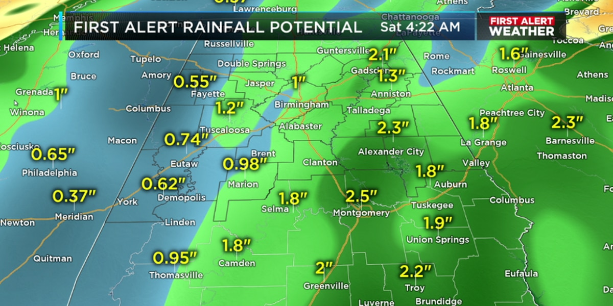 Steady rain begins late Thursday, continues into Friday