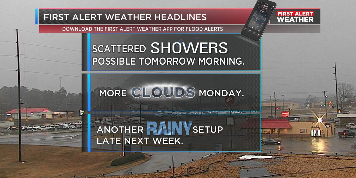 Few scattered showers expected Sunday