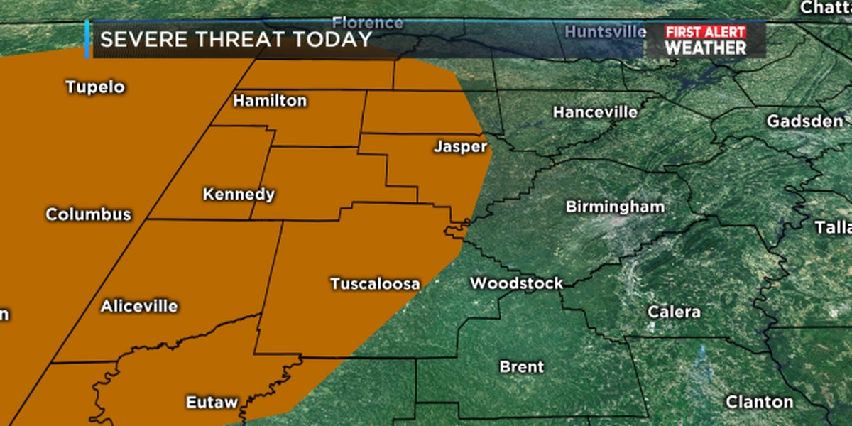 FIRST ALERT: A few strong storms possible late Thursday afternoon in west Alabama, small hail and gusty winds possible