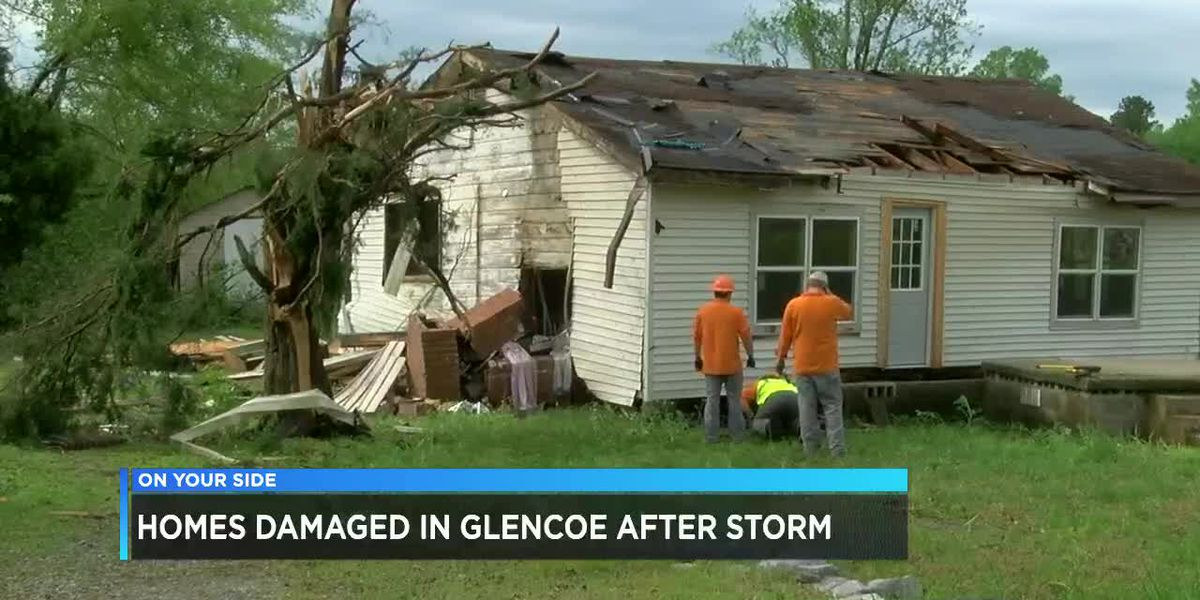Homes damaged in Glencoe after storm