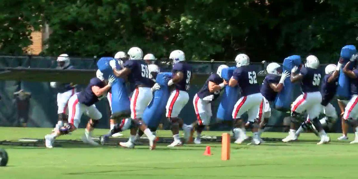 Auburn football holds 1st full pads practice