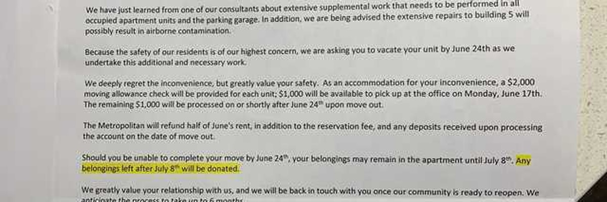 Entire apartment complex told to vacate their units