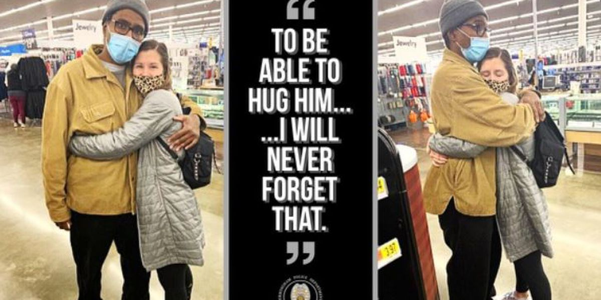 Birmingham officer injured in line of duty able to hug woman who helped him