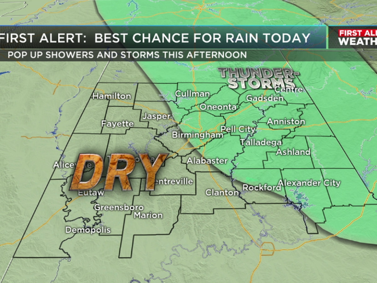FIRST ALERT: Storms possible Wednesday afternoon, especially east of I-65
