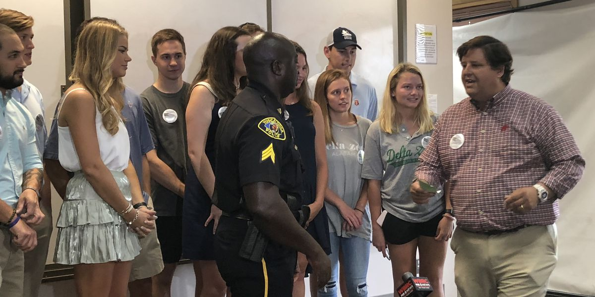 Greek organizations at the University of Alabama donate to fallen officer's fund