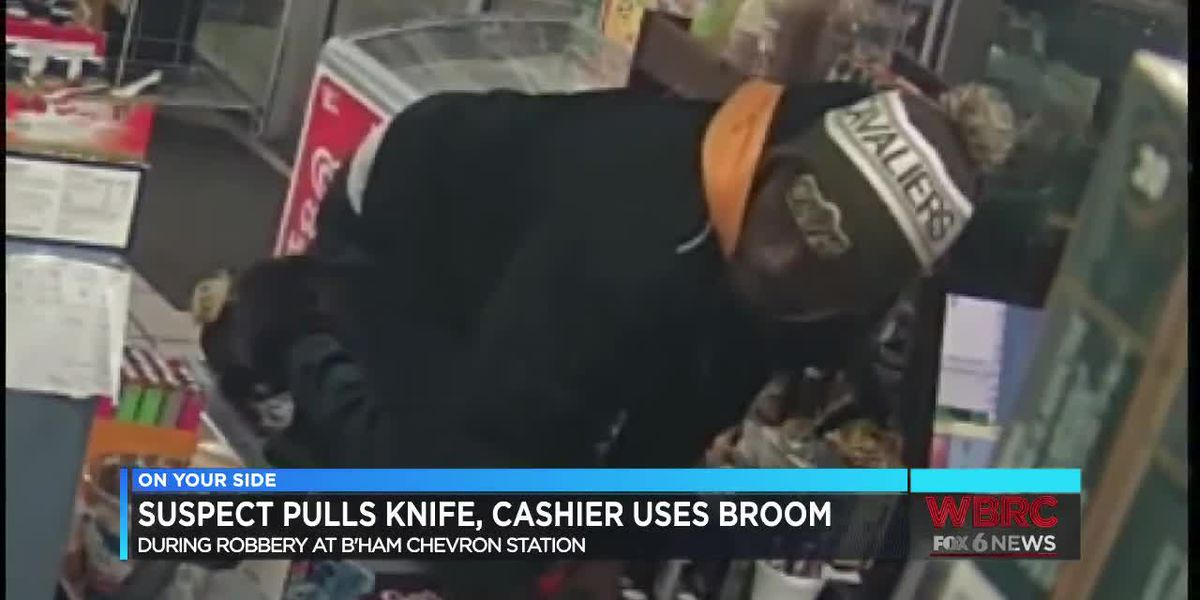 Suspect pulls knife, cashier fights back with broom