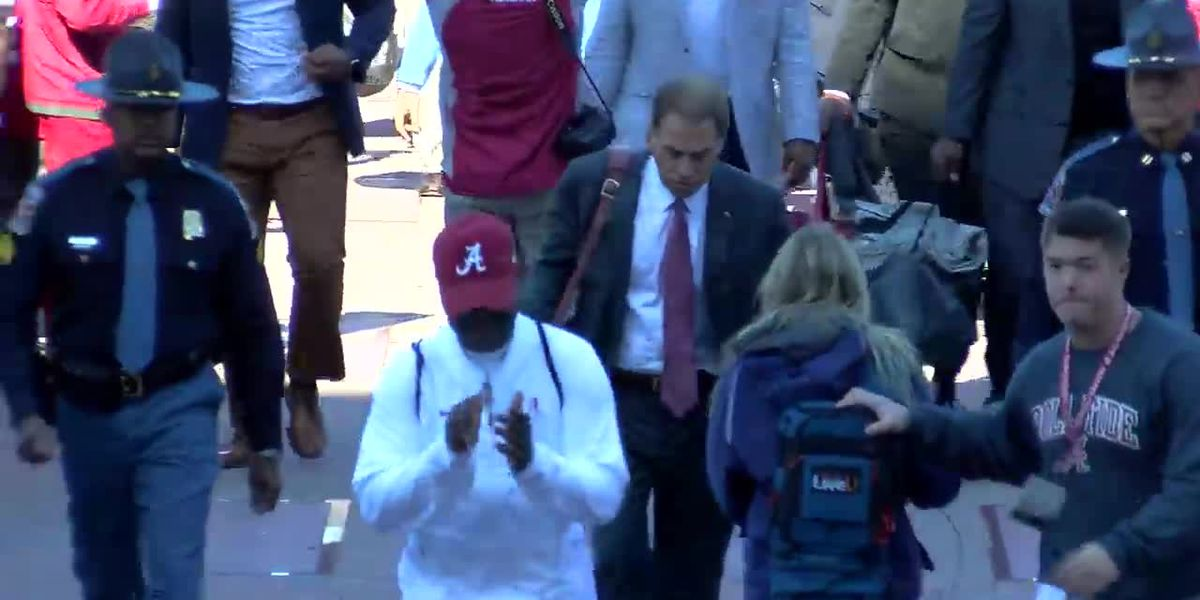 Alabama enters Bryant-Denny Stadium before the Miss St. game
