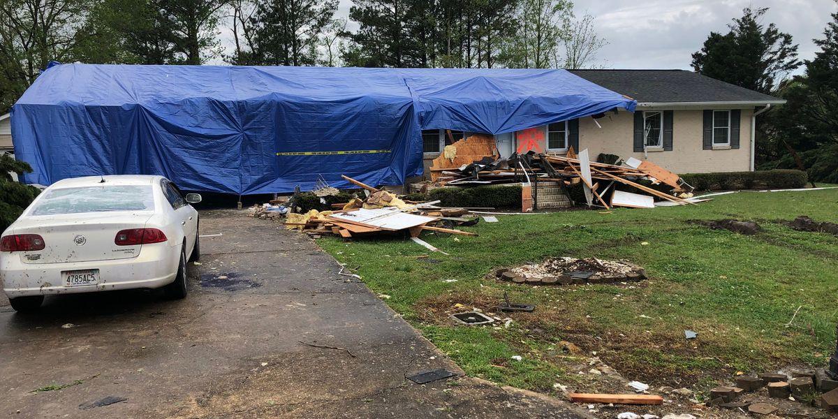 Windstorm or tornado leaves damage in Glencoe neighborhood