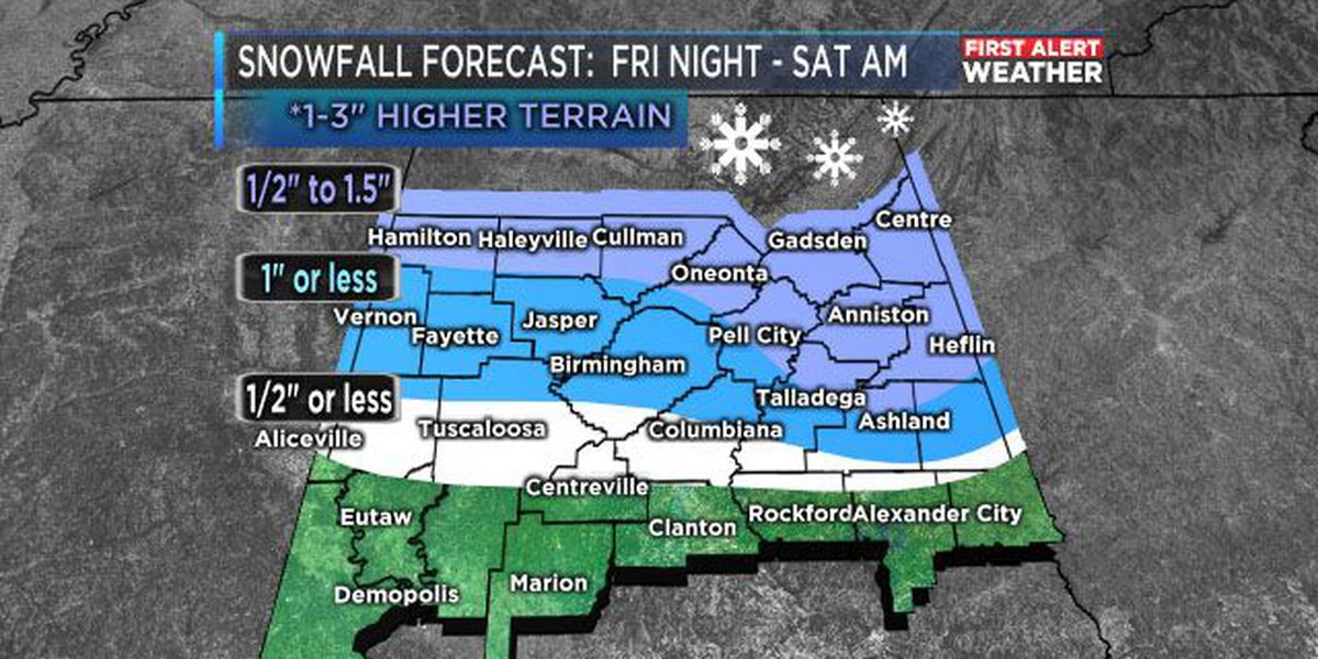 Winter Weather Advisory issued for most of WBRC viewing area