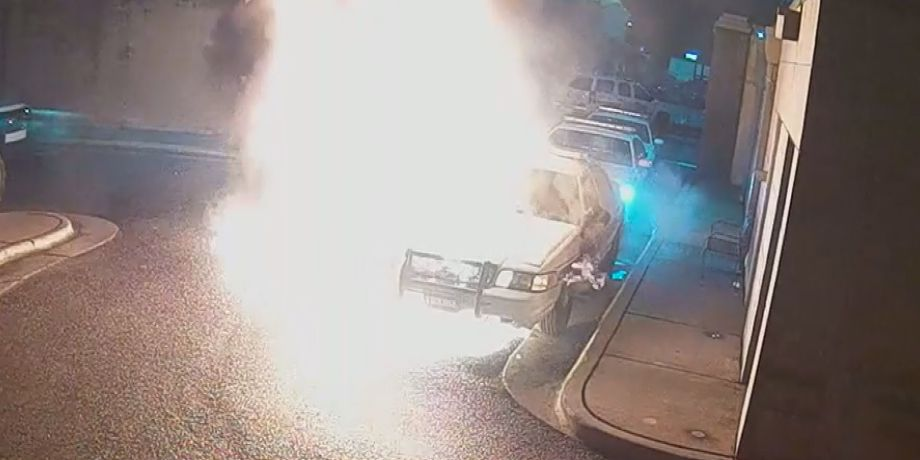 Etowah County patrol car bursts into flames