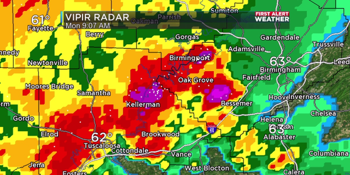 FIRST ALERT UPDATE: Significant Weather Advisory includes parts of Tuscaloosa, Walker and Jefferson counties