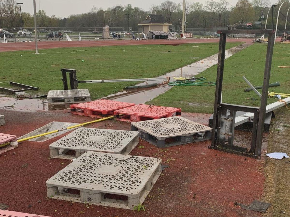 Oak Mountain track team returns to practice after tornado damages track